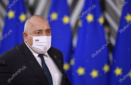 Bulgaria's Prime Minister Boyko Borissov arrives for an EU summit at the European Council building in Brussels, . European Union leaders meet for a year-end summit that will address anything from climate, sanctions against Turkey to budget and virus recovery plans. Brexit will be discussed on the sidelines