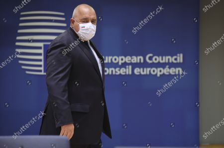 Bulgaria's Prime Minister Boyko Borissov arrives for a round table meeting at an EU summit at the European Council building in Brussels, . European Union leaders meet for a year-end summit that will address anything from climate, sanctions against Turkey to budget and virus recovery plans. Brexit will be discussed on the sidelines