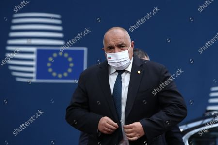 Stock Picture of Bulgaria's Prime Minister Book Borissov wearing a face mask arrives for the start of a two days face-to-face EU summit, in Brussels, Belgium, 10 December 2020. EU Leader will mainly focus on response to the COVID-19, Multi annual framework (MFF) agreement and new EU emissions reduction target for 2030.