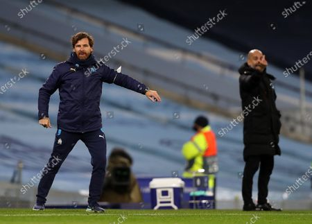 Manchester City's Pep Guardiola and Andre Villas-Boas Marseille in the Champions League