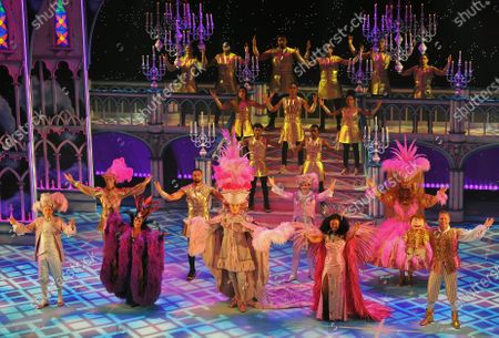The cast of Pantoland at the Palladium at the London Palladium. Cast members:  Front Row(L-R)Nigel Havers,Elaine Paige,Julian Clary,Beverley Knight,Paul Zerdin.  2nd Row(L-R)Charlie Stemp,Ashley Banjo,Jac Yarrow,Gary Wilmot.  Cast on stairway to rear are group Diversity composed of (Georgia Lewis,Starr Kiely,Jordan Banjo,Perry Kiely,Warren Russell,Sam Craske,Mitchell Craske,Nathan Ramsey,Kevin Clark,Adam McKop,Jordan Samuels). Order not certain.  The show is showing from Saturday the 12th of  December2020 until Sunday the 3rd of January 2021.