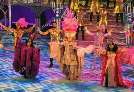 The cast of Pantoland at the Palladium at the London Palladium. Cast members: Cast on stairway: Diversity. 2nd Row(L-R)Charlie Stemp,Ashley Banjo,Jac Yarrow. Front Row(L-R)Elaine Paige,Julian Clary,Beverley Knight. Showing from Saturday the 12th of  December2020 until Sunday the 3rd of January 2021.