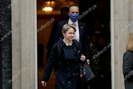 """Dido Harding, the head of the National Health Service coronavirus Test and Trace programme leaves ahead of British Health Secretary Matt Hancock, leaving 10 Downing Street, in London, . Britain started vaccinating some of its most vulnerable people and key workers against the coronavirus earlier this week in what was described as a """"turning point"""" to stop the pandemic"""