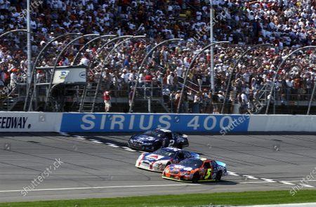 2003 NASCAR-Michigan Intl. Speedway,USA, June 13-15.  Terry Labonte beats Jeff Burton and Rusty Wallace over the line, World Copyright -RobertLeSieur ,June,2003 LAT Photographic-