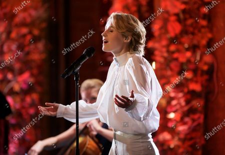 Stock Picture of Edda Magnason performs the song 'Hymne a l'amour' by late French singer Edith Piaf's during the Sveriges Television (SVT) pre-recording of music performances for the Nobel Prize ceremony in the City Hall in Stockholm, Sweden, 09 December 2020 (issued 10 December 2020). Due to the coronavirus pandemic, a digital awards ceremony takes place at the Stockholm City Hall on 10 December.