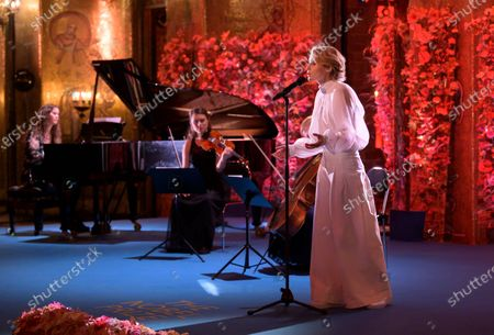 Edda Magnason performs the song 'Hymne a l'amour' by late French singer Edith Piaf's during the Sveriges Television (SVT) pre-recording of music performances for the Nobel Prize ceremony in the City Hall in Stockholm, Sweden, 09 December 2020 (issued 10 December 2020). Due to the coronavirus pandemic, a digital awards ceremony takes place at the Stockholm City Hall on 10 December.