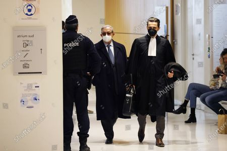 French attorney Gilbert Azibert (C) arrives at the court for Former French president Nicolas Sarkozy's trial on corruption charges in the so-called 'wiretapping affair' in Paris, France, 10 December 2020. In 2013, Nicolas Sarkozy was using a false name, Paul Bismuth, to make phone calls to his lawyer, Thierry Herzog, about the decision that the Court of Cassation was about to take regarding the seizure of presidential diaries in a separate case. The trial is due to run from 23 November to 10 December 2020.