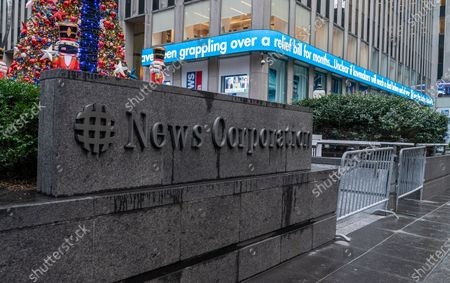 "Stock Image of View of Fox News headquarters on 6th Avenue on a day when Newsmax TV scores a ratings win over Fox News. In the key 25- to 54-year-old demographic prized by advertisers, ""Greg Kelly Reports"" on Newsmax out-rated ""The Story with Martha MacCallum"" on Fox. Thos two programs run on 7PM slot. This is milestone in the cable news industry."