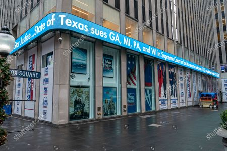 """View of Fox News headquarters on 6th Avenue on a day when Newsmax TV scores a ratings win over Fox News. In the key 25- to 54-year-old demographic prized by advertisers, """"Greg Kelly Reports"""" on Newsmax out-rated """"The Story with Martha MacCallum"""" on Fox. Thos two programs run on 7PM slot. This is milestone in the cable news industry."""