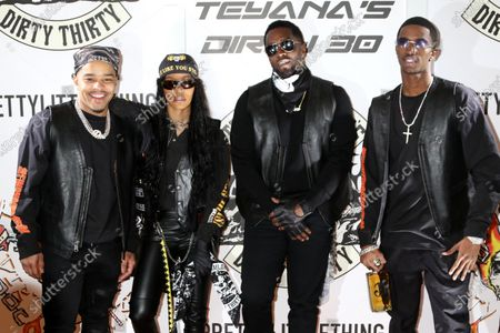 Stock Photo of Justin Dior Combs, Teyana Taylor, Sean Combs and King Combs at Teyana Taylor's Dirty 30 celebrating her 30th birthday