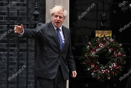 Britain's Prime Minister Boris Johnson welcomes Crown Prince of the Emirate of Abu Dhabi, Sheikh Mohammed bin Zayed Al Nahyan (not pictured) to his official residence at 10 Downing Street in London, Britain, 10 December 2020.