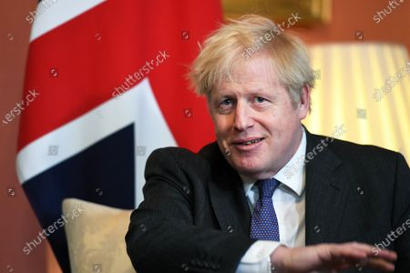 British Prime Minister Boris Johnson meets Crown Prince of Abu Dhabi Sheikh Mohammed bin Zayed Al Nahyan (not pictured) at 10 Downing Street in London, Britain, 10 December 2020.