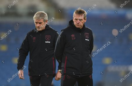West Ham coaches Stuart Pearce and Alan Irvine during the warm up