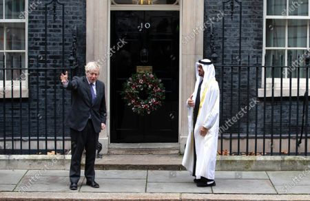 Prime Minister, Boris Johnson, meets Sheik Mohammed Bin Zayed Al Nahyan at 10 Downing Street. Sheik Mohammed, known by his initials MBZ, is the Crown Prince of the Emirate of Abu Dhabi and Deputy supreme commander of the United Arab Emirates Armed Forces.