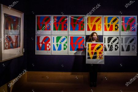 Stock Picture of The Book of Love by Robert Indiana, est £60-80,000 at the Preview of Bonhams' Prints & Multiples sale. The Sale will take place on 15 December.