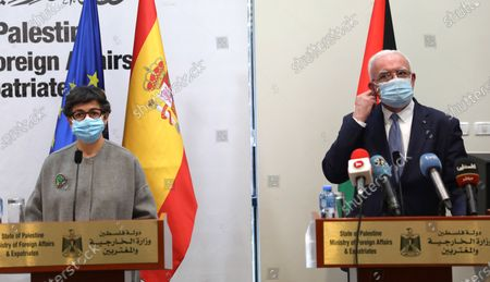 Stock Picture of Spanish Foreign Minister Arancha Gonzalez Laya (L) and Palestinian Foreign Minister Riyad Al-Maliki (R) give a joint press conference in the West Bank city of Ramallah, 10 December 2020. Laya earlier in the day met with President Mahmoud Abbas and reiterated that her country supports peace between Palestinians and Israel based on the two-state solution and international law.