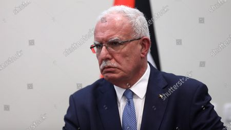 Palestinian Foreign Minister Riyad Al-Maliki attends a joint press conference with his Spanish counterpart in the West Bank city of Ramallah, 10 December 2020. Laya earlier in the day met with President Mahmoud Abbas and reiterated that her country supports peace between Palestinians and Israel based on the two-state solution and international law.