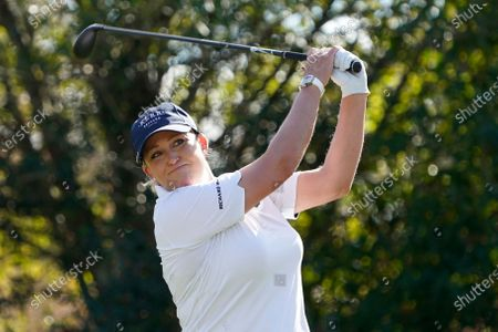 Cristie Kerr hits from the 12th tee, during the first round of the U.S. Women's Open Golf tournament, in Houston