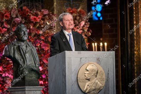 Professor Carl-Henrik Heldin, Chairman of the Board of the Nobel Foundation, gives a speech during the the Nobel Prize ceremony in the Golden Hall in the City Hall. Due to the corona (Covid-19) pandemic, a digital awards ceremony takes place at the Stockholm City Hall with no Lauerates present, and parts of the ceremony is pre-produced.