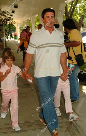 Sylvester Stallone and his family arrive at the 14th Annual Wells Fargo Hollywood Charity Horse Show at the Los Angeles Equestrian Center in Burbank, Ca which was hosted by William Shatner