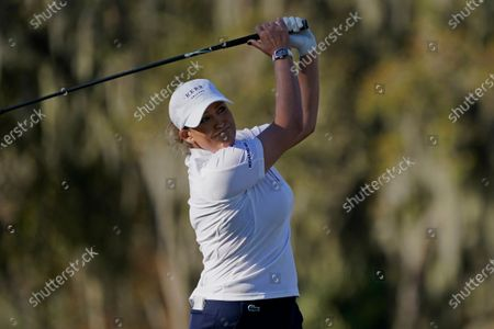Cristie Kerr hits from the 12th tee during the first round of the U.S. Women's Open Golf tournament, in Houston