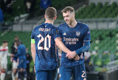 Shkodran Mustafi and Calum Chambers after the game of Arsenal during the Europa League Group B match between Dundalk and Arsenal at Aviva Stadium, Dublin