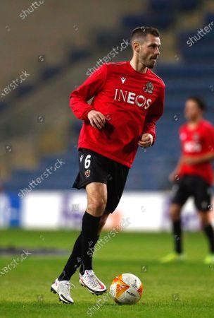 Nice's Morgan Schneiderlin warms up for the UEFA Europa League group C soccer match between Hapoel Beer Sheva and OGC Nice in Petah Tikva, Israel, 10 December 2020.