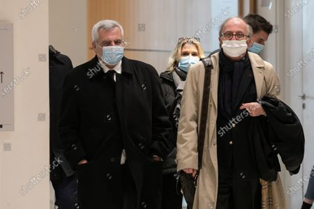 """Arrival of Thierry Herzog and his lawyer on the last day of the """"listening trial""""."""