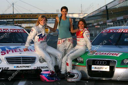 2007 DTM Championship. Round 3, Eurospeedway Lausitz (Lausitzring). 18th - 20th May 2007. The female drivers in the DTM posing with Lara Croft: Susie Stoddart (GBR), Mücke Motorsport AMG Mercedes, Portrait, Karima Adebibe (GBR) and Vanina Ickx (BEL), TME, Portrait World Copyright: Miltenburg/xpb cc/LAT