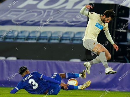 Karim Ansarifard (R) of AEK Athens in action against Leicester's Wesley Fofana (L) during the UEFA Europa League group G soccer match between Leicester City and AEK Athens in Leicester, Britain, 10 December 2020.