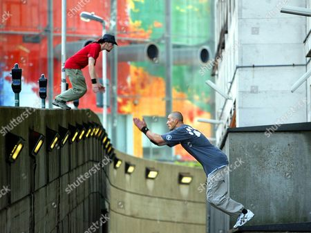 Ez (paul Corkery) And Bam (ben Milner) London's Leading Free-runners Pictured In Action. Inspired By The French Sport Of Parkour British Practitioners Have Started Gathering At The South Bank Centre To Pit Their Strength And Agility Against The Maze Of Walls Ledges And Walkways.
