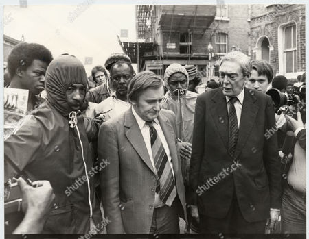 Lord Scarman Pictured With Mp Ted Knight And Residents In Railton Road Brixton. He Is In Charge Of The Inquiry Into The 1981 Brixton Riots.
