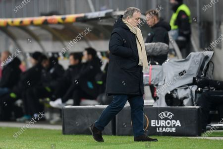 Feyenoord's head coach Dick Advocaat walks at the side lines during the Group K Europa League soccer match between Wolfsberger AC and Feyenoord at the Woerthersee Stadium in Klagenfurt, Austria