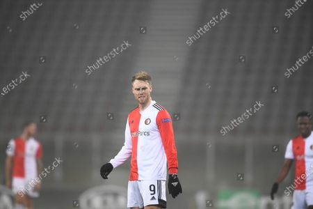 Feyenoord's Nicolai Jorgensen stands on the pitch during the UEFA Europa League Group K soccer match between Wolfsberger AC and Feyenoord at the Woerthersee Stadium in Klagenfurt, Austria