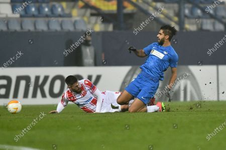 Milos Degenek (L) of Red Star in action against Júsuf Hilál (R) of Liberec during the UEFA Europa League group L soccer match between Slovan Liberec and Red Star Belgrade in Liberec, Czech Republic, 10 December 2020.