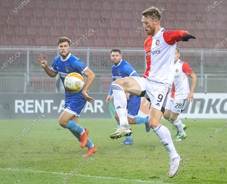 Nicolai Jorgensen (R) of Feyenoord in action during the UEFA Europa League group K soccer match between RZ Pellets Wolfsberg and Feyenoord Rotterdam at the Woerthersee stadium in Carinthia, Austria, 10 December 2020.