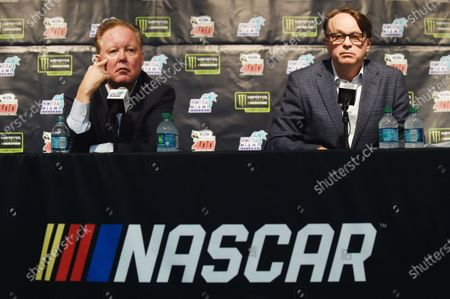Monster Energy NASCAR Cup Series Homestead-Miami Speedway, Homestead, Florida USA Sunday 19 November 2017 CEO and Chairman of NASCAR Brian France, NASCAR President Brent Dewar during a press conference World Copyright: Rainier Ehrhardt / LAT Images