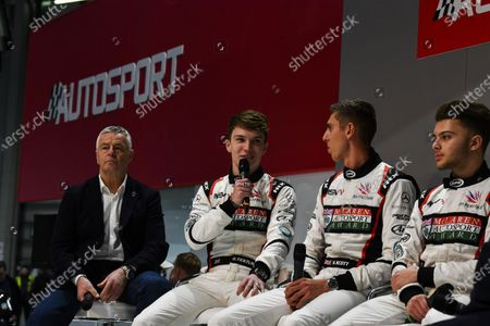 Autosport International Exhibition. National Exhibition Centre, Birmingham, UK.  Thursday 11th January 2018.  Derek Warwick, Dan Ticktum, Harrison Scott and Max Fewtrell talk to Henry Hope-Frost on the Autosport Stage.  World Copyright: Mark Sutton/Sutton Images/LAT Images  Ref: DSC_6901