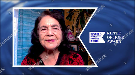 In this screengrab, Dolores Huerta accepts the Ripple of Hope Award at the 52nd annual Robert F. Kennedy Jr Ripple of Hope Award gala, honoring modern-day human rights defenders on December 10, 2020 in Various Cities.