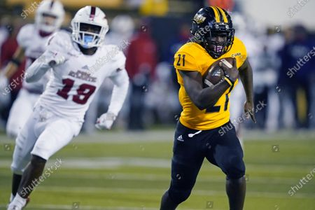 Southern Mississippi running back Frank Gore Jr. (21) sprints 73-yards for a touchdown during the first half of an NCAA college football game against Florida Atlantic, in Hattiesburg, Miss. Southern Mississippi won 45-31