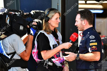 Stock Photo of Louise Goodman (GBR) talks with Christian Horner (GBR) Red Bull Racing Team Principal