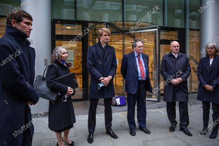 Stock Picture of German tennis star Alexander Zverev at the High Court in a legal dispute with Patricio Apey founder of London-based sports management company which began representing him when he was a teenager. Zverev, 23, has sued Ace Group International and made an 'unlawful restraint of trade' claim. (left to right) Mischa Zverev (brother) Anya Proops QC, Alexander Zverev, Mark Stephens, Alexander Zverev Snr, Irina Zvereva (mother)