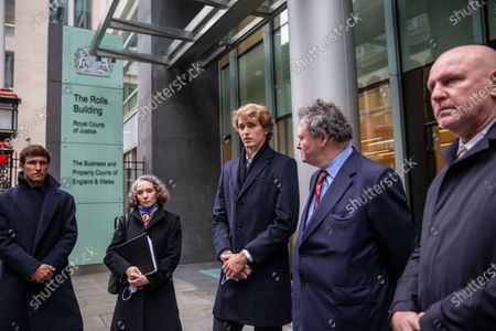 German tennis star Alexander Zverev at the High Court in a legal dispute with Patricio Apey founder of London-based sports management company which began representing him when he was a teenager. Zverev, 23, has sued Ace Group International and made an 'unlawful restraint of trade' claim. (left to right) Mischa Zverev (brother) Anya Proops QC, Alexander Zverev, Mark Stephens, Alexander Zverev Snr, Irina Zvereva (mother)