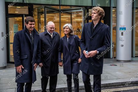 German tennis star Alexander Zverev at the High Court in a legal dispute with Patricio Apey founder of London-based sports management company which began representing him when he was a teenager. Zverev, 23, has sued Ace Group International and made an 'unlawful restraint of trade' claim. (left to right) Mischa Zverev , Alexander Zverev Snr, Alexander Zverev, Irina Zvereva (mother)