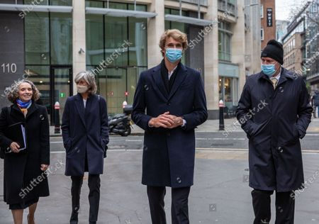 German tennis star Alexander Zverev at the High Court in a legal dispute with Patricio Apey founder of London-based sports management company which began representing him when he was a teenager. Zverev, 23, has sued Ace Group International and made an 'unlawful restraint of trade' claim. Pictured leaving court Alexander Sascha Zverev with (left to right) Anya Proops QC, (mother) Irina Zvereva and (father) Alexannder Zverev Snr