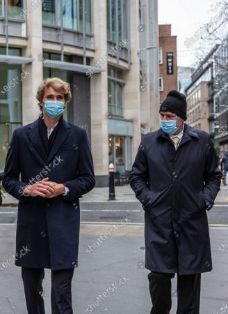 German tennis star Alexander Zverev at the High Court in a legal dispute with Patricio Apey founder of London-based sports management company which began representing him when he was a teenager. Zverev, 23, has sued Ace Group International and made an 'unlawful restraint of trade' claim. Pictured leaving court Alexander Sascha Zverev with father Alexabnder Zverev Snr