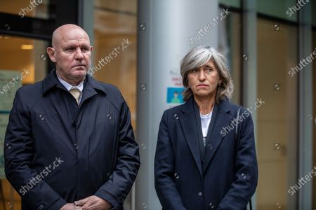 """German tennis star Alexander Zverev at the High Court in a legal dispute with Patricio Apey founder of London-based sports management company which began representing him when he was a teenager. Zverev, 23, has sued Ace Group International and made an """"unlawful restraint of trade"""" claim. (left to right) Alexander Zverev Snr (father) and Irina Zvereva (mother)"""