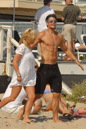 Stock Picture of AJ Lamas son of Lorenzo Lamas  attending a party thrown by Paris Hilton in Malibu, Ca