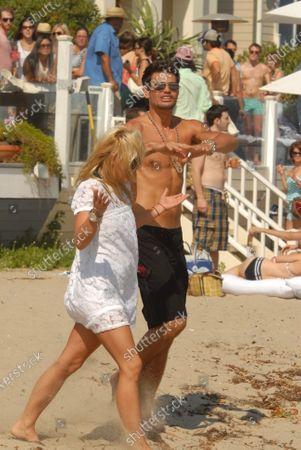 AJ Lamas son of Lorenzo Lamas  attending a party thrown by Paris Hilton in Malibu, Ca
