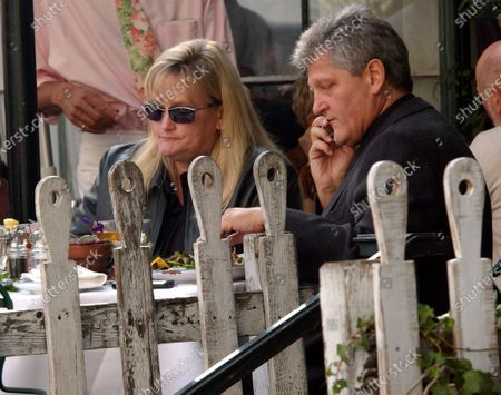 Former Nurse Debbie Rowe, who is the mother of 2 of Michael Jackson's children and was briefly married to the pop singer has lunch at the Ivy restaurant in Beverly Hills, Ca with Jackson's top advisor Dieter Weiser and bodyguard Steve Thompson (Sunglasses)